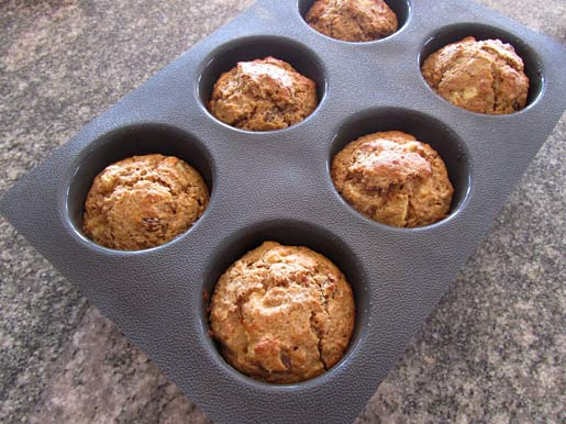 bran muffins with apples and sultanas