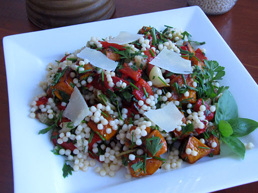 Caramelized Squash and Roasted Peppers with Fregola Sarda