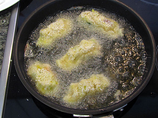frying colcannon croquettes