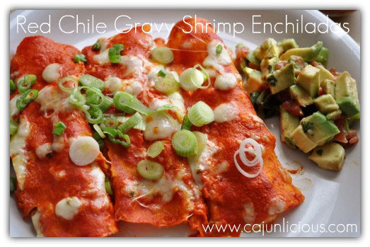 Red Chile Gravy Shrimp Enchiladas by Cajunlicious.com