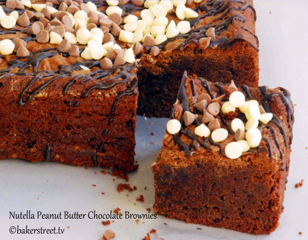 Nutella Peanut Butter Chocolate Brownies by bakerstreet.tv