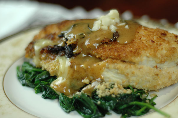 Stuffed Macadamia Crusted Chicken with Sage and Port Cream Sauce