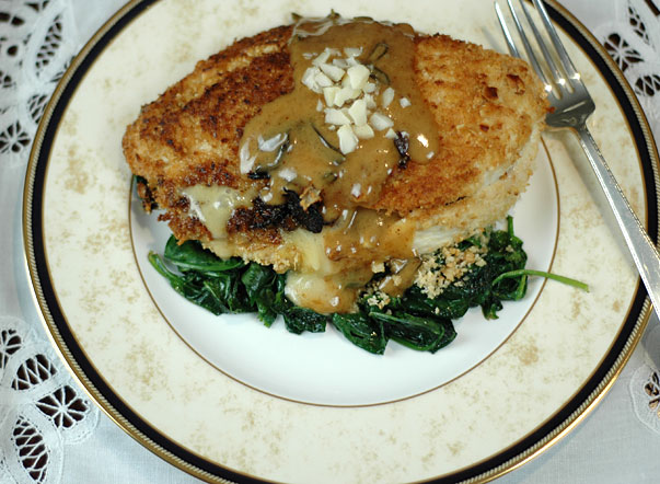 Stuffed Macadamia Crusted Chicken Breast with Sage Cream Sauce