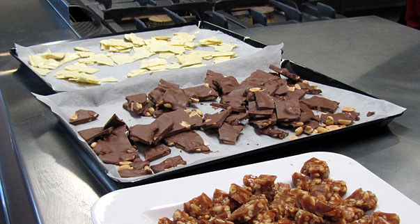 White chocolate with cumin and milk chocolate and peanuts