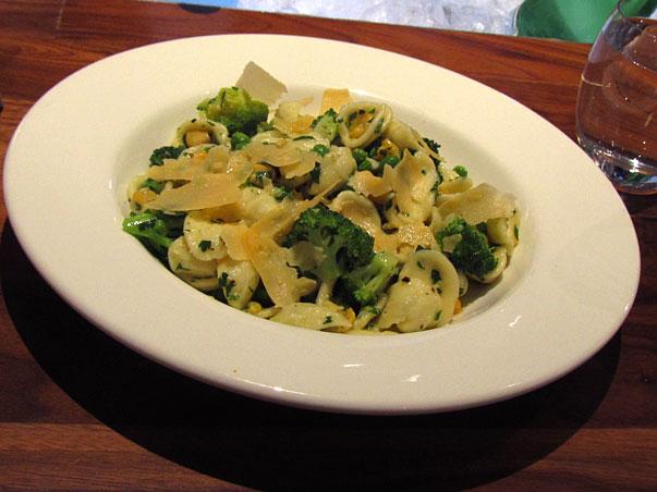 orecchiette pasta with broccoli, corn, peas and pecorino