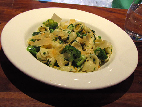 orecchiette pasta with broccoli, corn, peas and pecorino