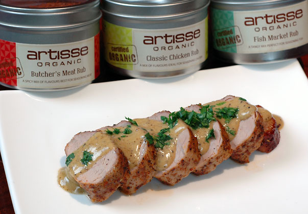 Rubbed Pork Tenderloin with wattleseed cream sauce