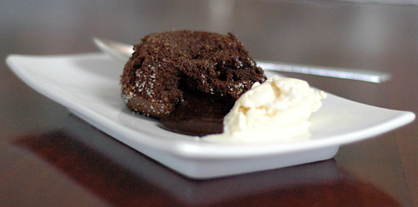 chocolate cake with a hot liquid center