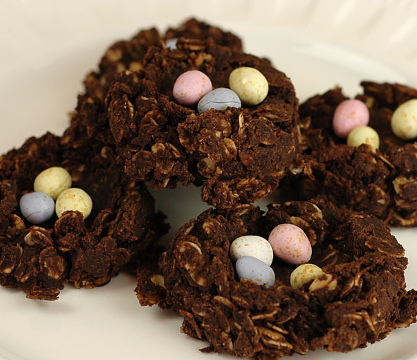 No Bake Chocolate Easter Nests