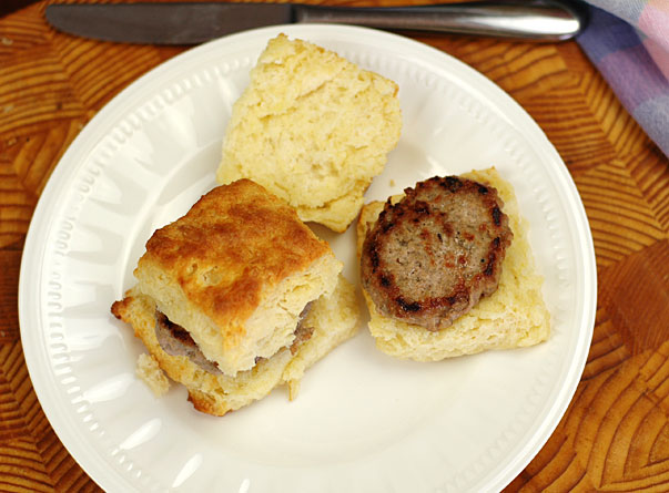 homemade biscuits with sausage patties