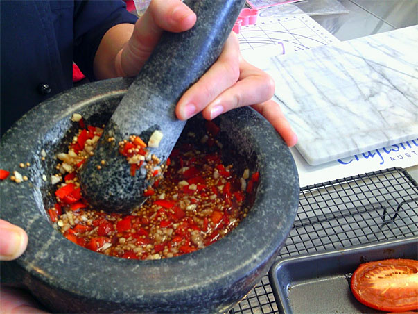 chilies in the mortar