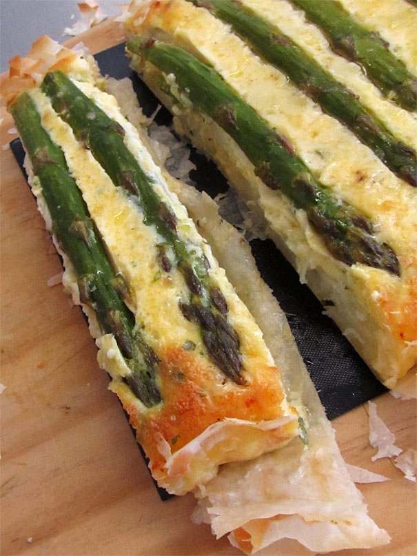 asparagus, potato and cheese quiche