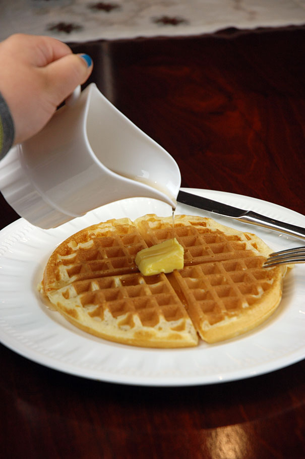 homemade maple syrup on waffles