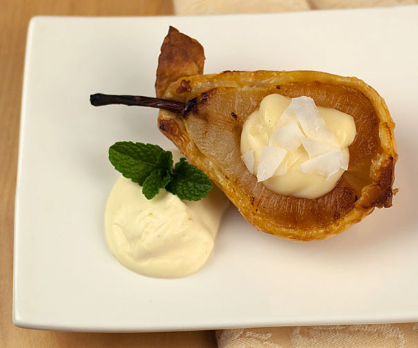 Pears Baked in Puff Pastry and Served with Vanilla Bean Custard