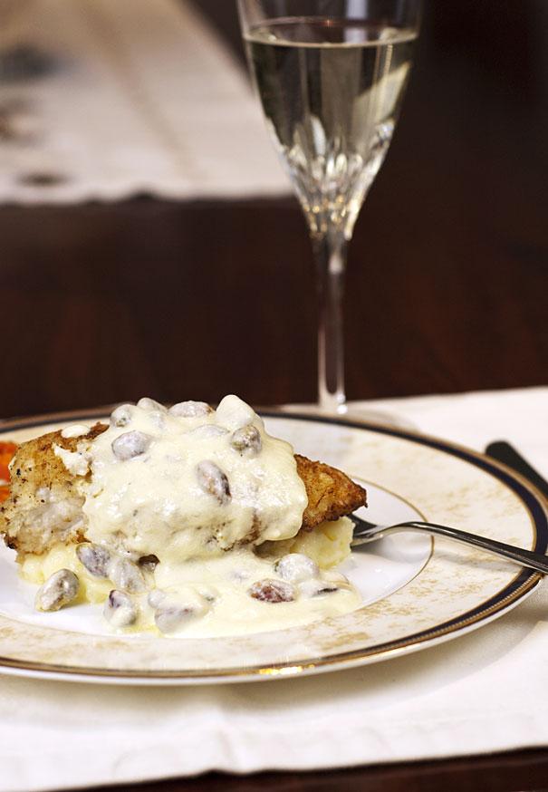 Chicken with a pistachio gorgonzola sauce