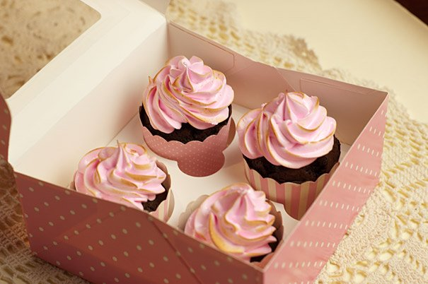 Chocolate Cupcakes with Pink Marshmallow Icing