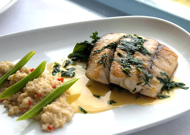 Barramundi with Quinoa Risotto and Wilted Kale
