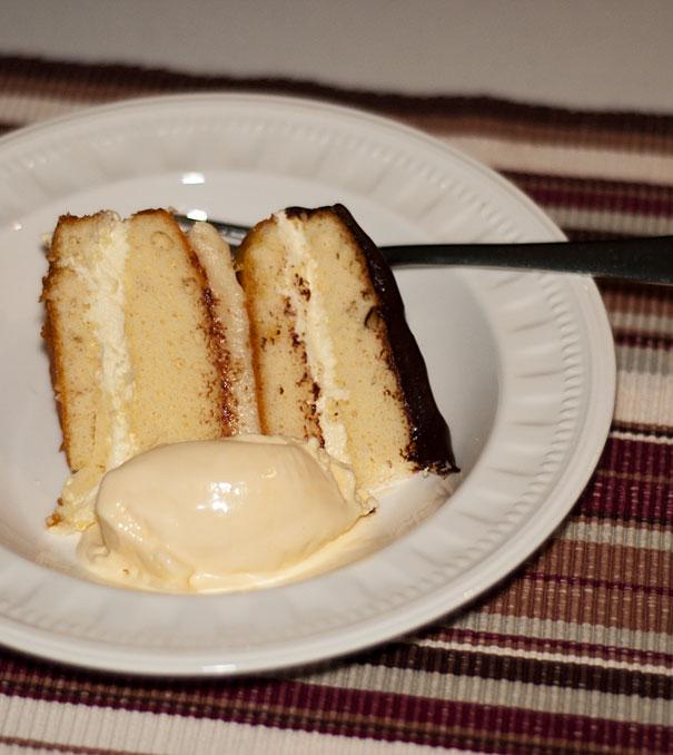 Layer cake with chocolate ganache