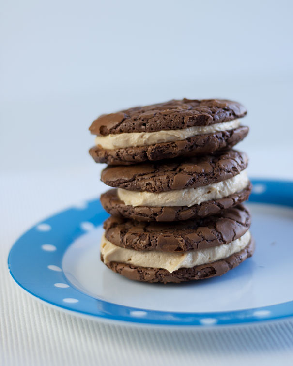 Chocolate Brownie Cookie Sandwiches with Peanut Butter Buttercream