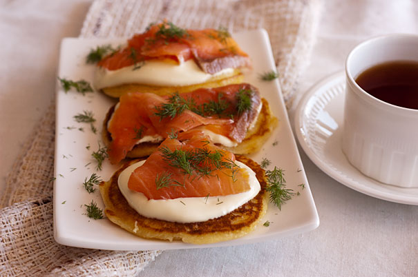 Pancakes with Salmon, Dill and Sour Cream