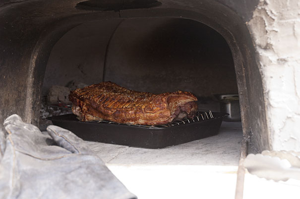 Pork Belly Cooked in a Pizza Oven