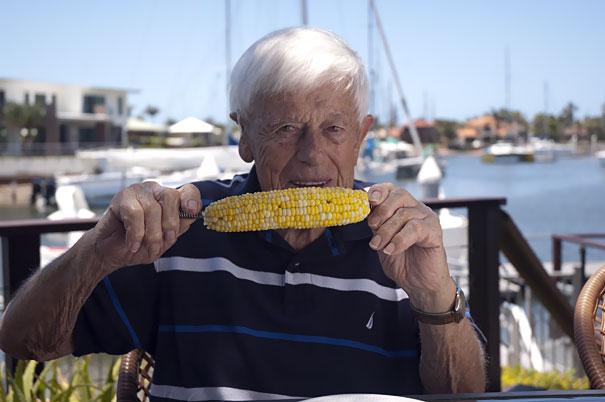 Rob eating corn