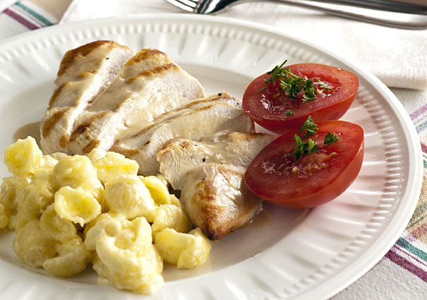 Honey Mustard Chicken with Cheesy Macaroni