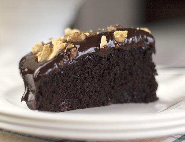 Double Dark Chocolate Cake with Chocolate Ganache