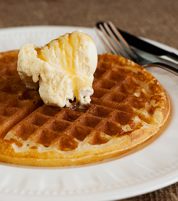 Waffle with Vanilla Ice Cream and Maple Syrup