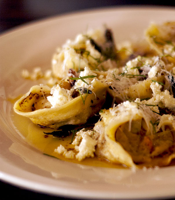 Roasted carrot, ricotta and walnut tortellini with burnt butter, garlic and sage sauce