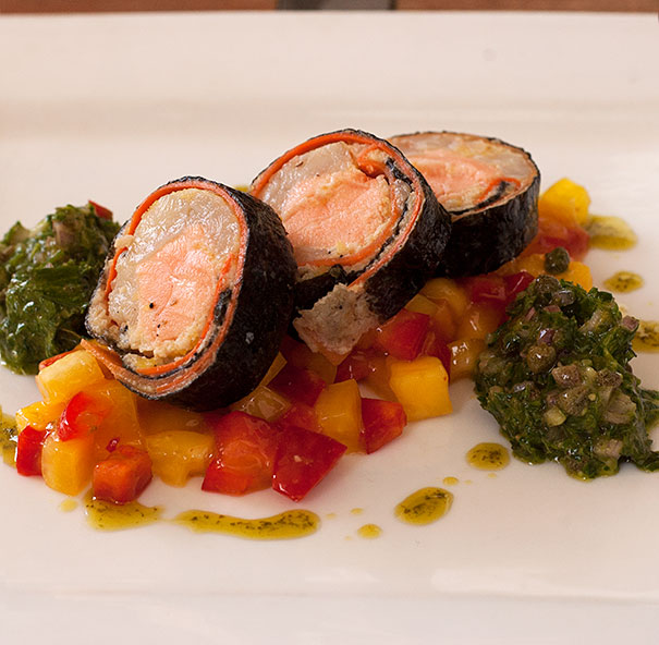 Salmon and Prawn Roulade