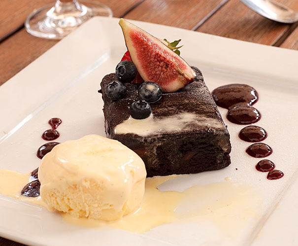 Warm Double Chocolate Brownie with Vanilla Bean Ice Cream
