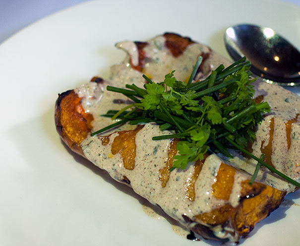baked pumpkin with yoghurt and garam masala sauce
