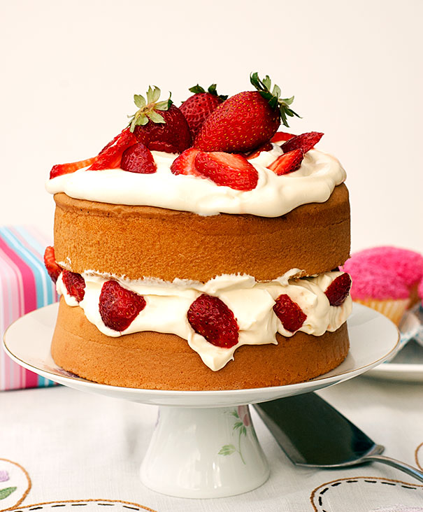 Sponge Cake from IGA with whipped Cream and Strawberries
