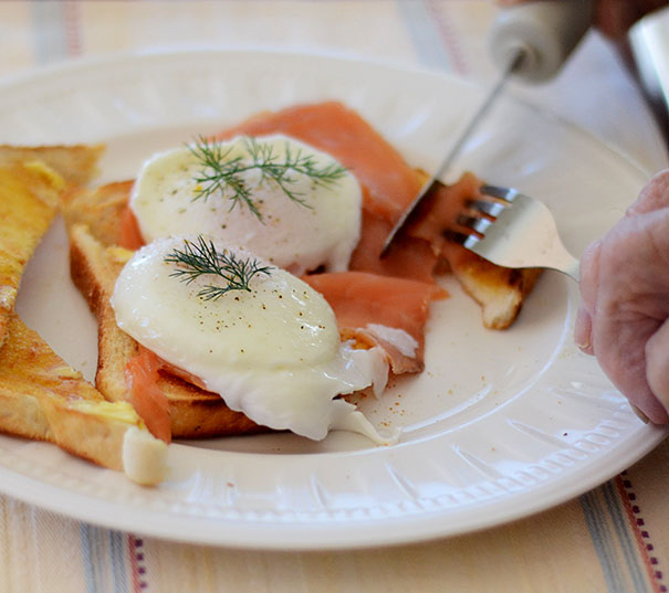 eggs and salmon breakfast