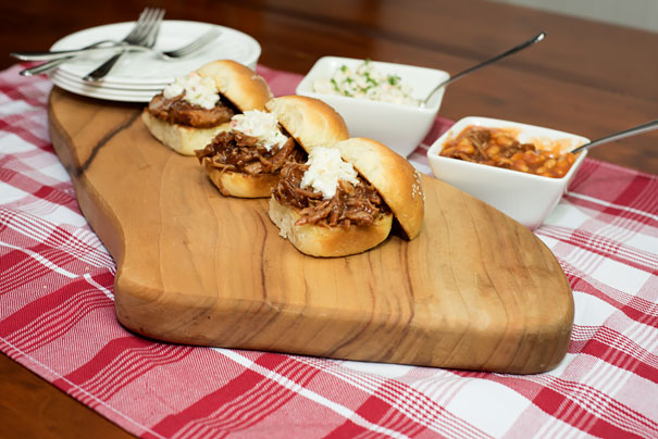 bbq pork in a brioche bun