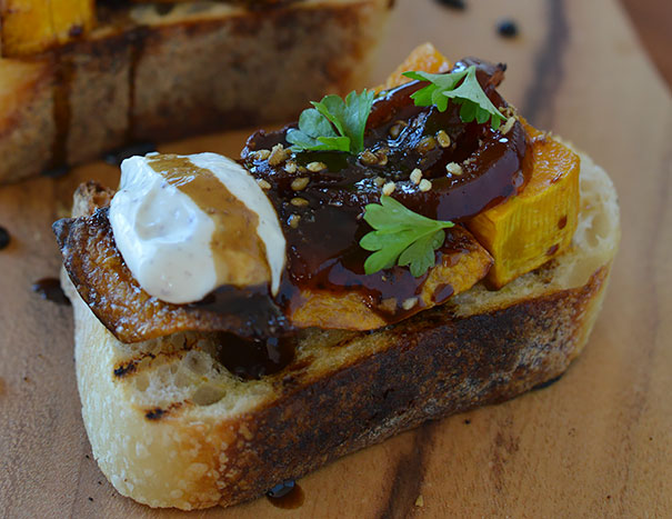 Bruschetta with Roasted Pumpkin, Labneh and Caramelized Onions