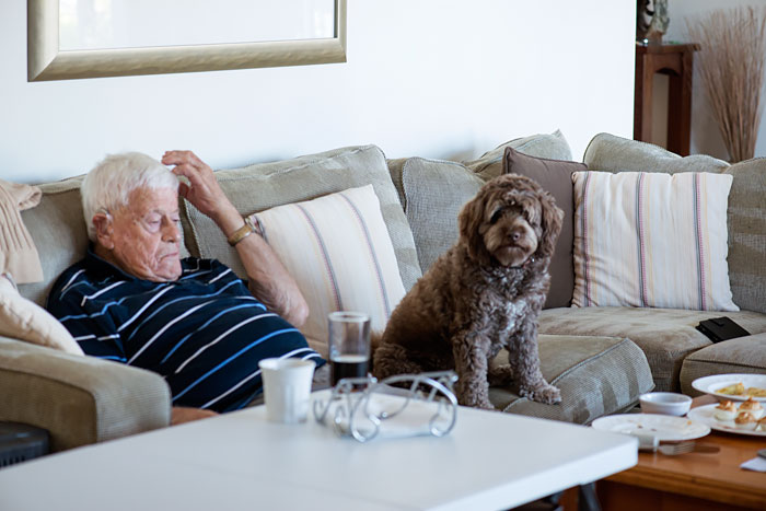 Charlie and Gramps watching the grand final