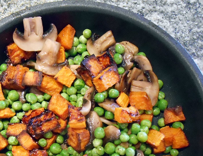 butternut, mushrooms and peas