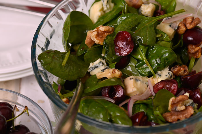 Spinach, Blue Cheese and Cherry Salad with Black Cherry Vinaigrette