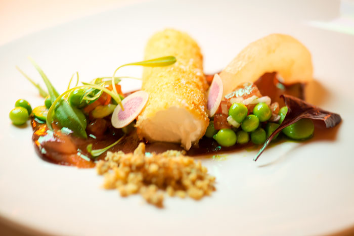 Goats cheese croquettes with nashi pear, walnuts and baby radish