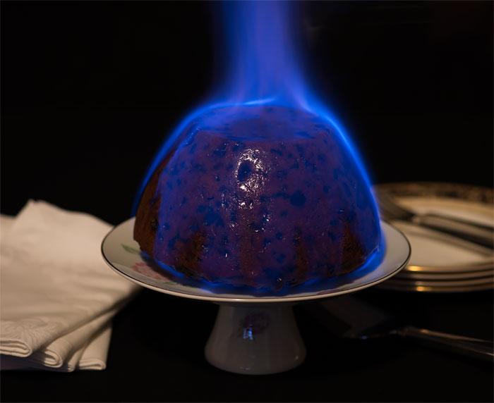 Christmas Pudding on Fire