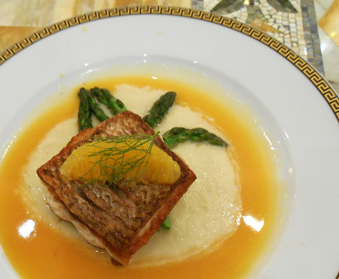 Pan Fried Snapper with Fennel Puree and Orange Miso Reduction