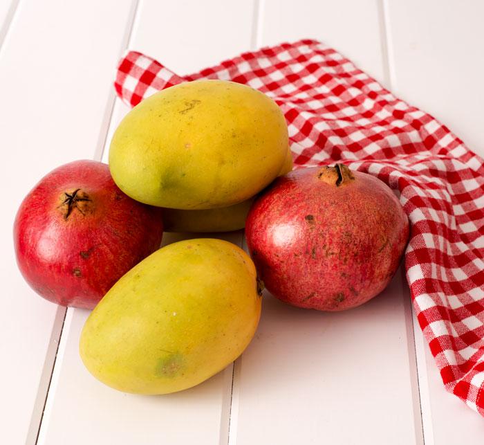 Mangoes and pomegranates