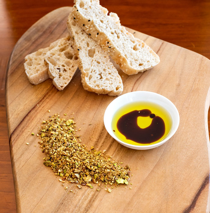 Homemade Dukkah with Olive Oil, Balsamic Vinegar and Turkish Bread