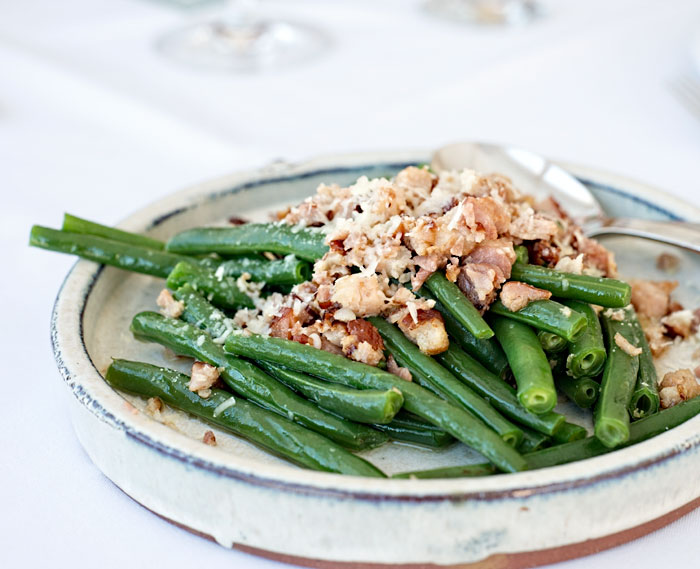 Green beans with bacon and parmesan butter