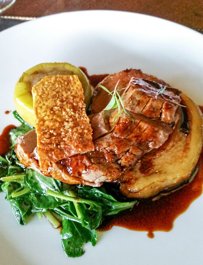 Asian style pork belly and grilled fillet