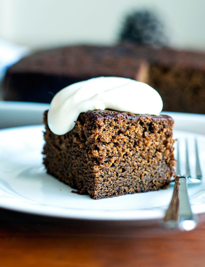 Sticky Gingerbread Cake with Whipped Cream