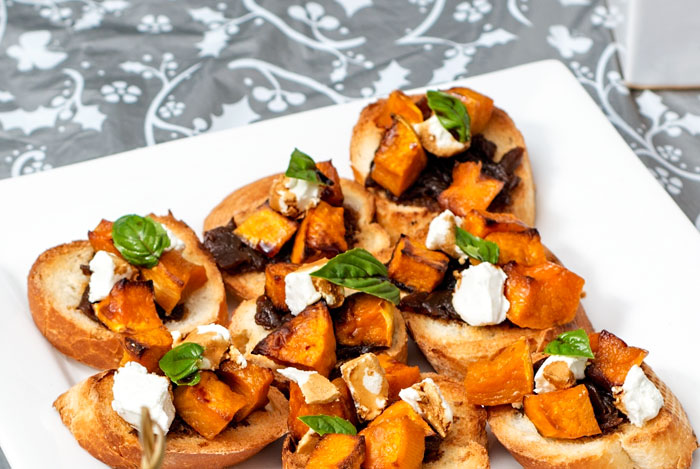 Butternut Pumpkin Bruschetta with Goats Cheese