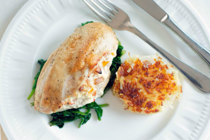 chicken stuffed with mango and macadamia nuts